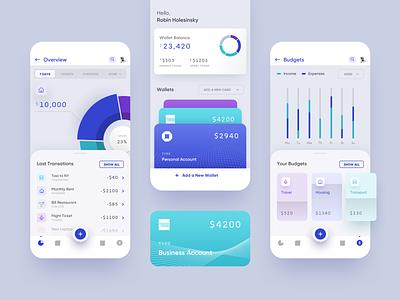 Budget planner app for iOS app ui uiux budget wallet fintech blue mobile app finance ux payment card analytics