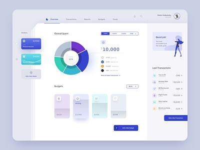 Budget planner app for desktop card payment bank fintech wallet finance blue dashboard app ux ui