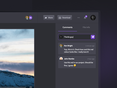 Side panel with comments for Droplr purple dark ui ux chat conversation sidepanel droplr darkmode comments dashboad