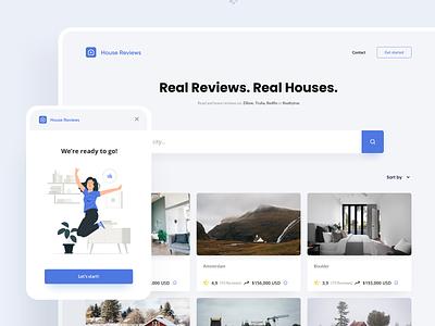 HouseReviews website concept website design comments rate tiles houses house design ui real estate logo website