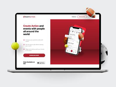 UWantAction website desktop appstore action white red mobile app matches friendship gamble bet sports website