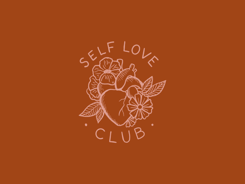 Self love club logo self love valentines flowers line art heart crest lettering illustration
