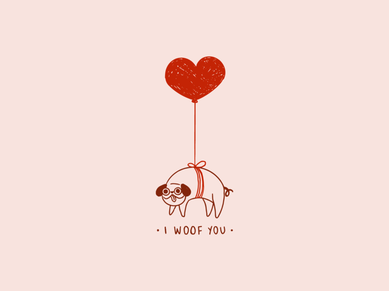 I woof you love line art cute funny cartoon pug balloon heart dog illustration
