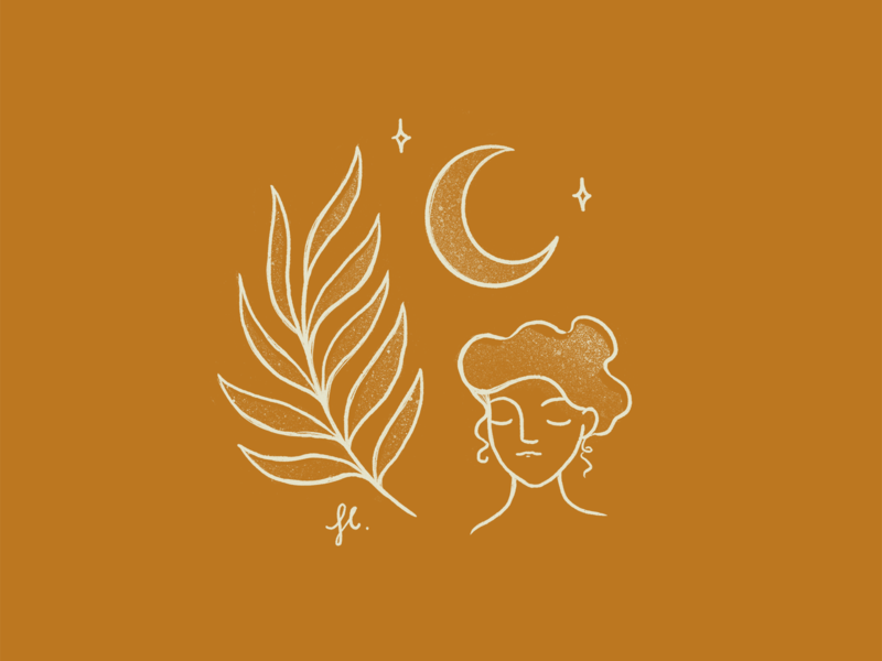 ✨ the Nature, the Universe and the Woman✨ minimalist vintage texture procreate icons plant moon line art woman girl illustration