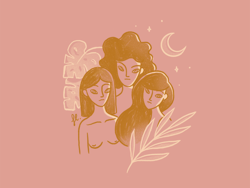 Soul Sisters line art girl power feminist procreate moon monstera plants women woman illustration