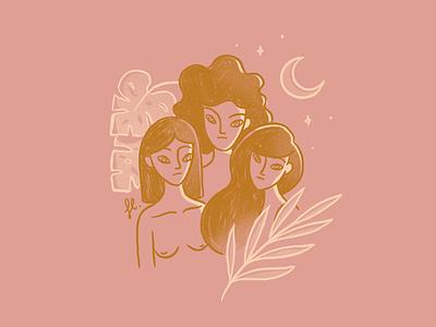 Soul Sisters line art girl power feminist procreate moon monstera plants women woman illustration