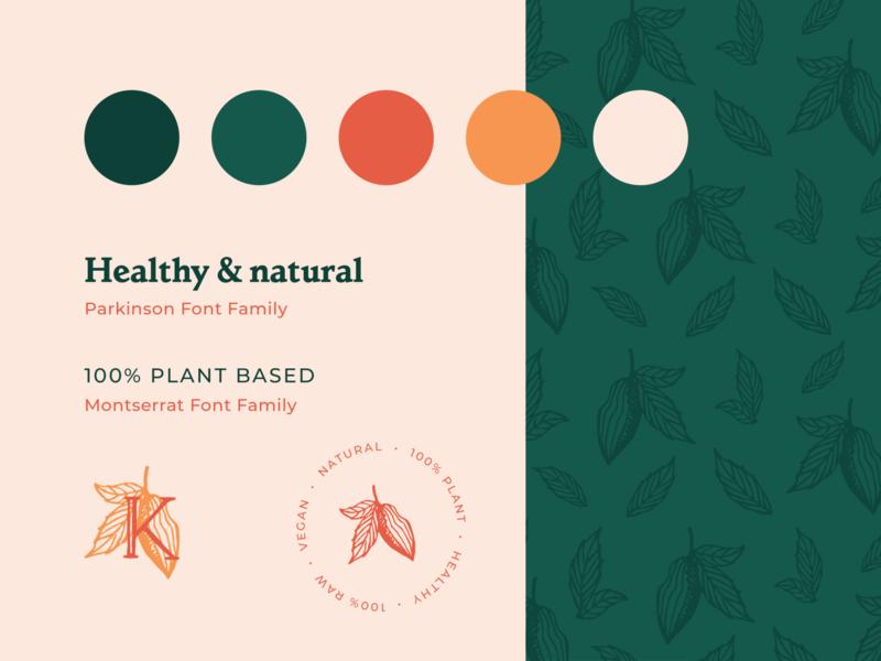 Krudi Brand food eco vegan pattern cocoa cacao crest fonts color palette brand guidelines branding logo
