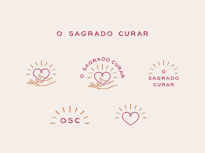 O Sagrado Curar - Logo variations mystical healing lettering custom type sans serif hand drawn logo illustration heart hand branding