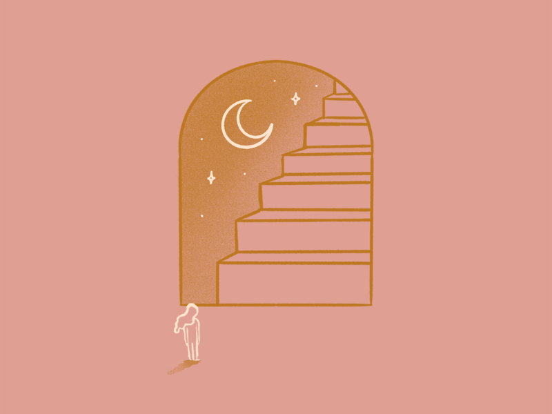 Steps for equality universe mystical window moon line art vintage woman girl illustration