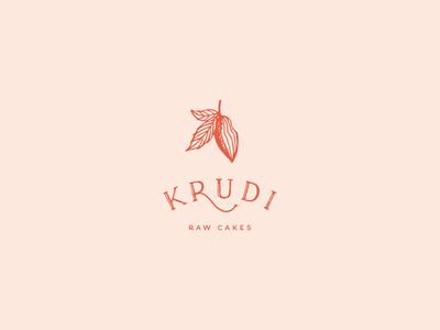 Krudi food brand crest hand drawn lettering serif cakes raw vegan cacao branding logo