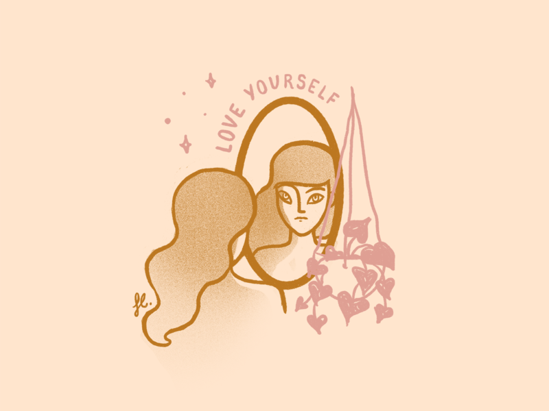 Love yourself vintage procreate mirror self love girl plant line art woman illustration