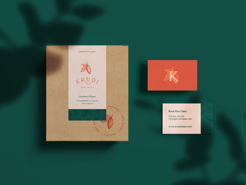 Krudi stationery cocoa natural cakes logo design stationery business cards packaging branding logo vegan