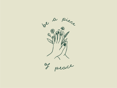 Be a piece of peace hand drawn garden peace flowers hands t-shirt design procreate line art lettering illustration