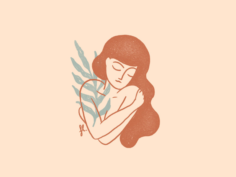 You are enough hug line vintage self care nature feminine woman illustration