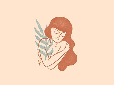 You are enough hug line vintage self care nature feminine woman illustration