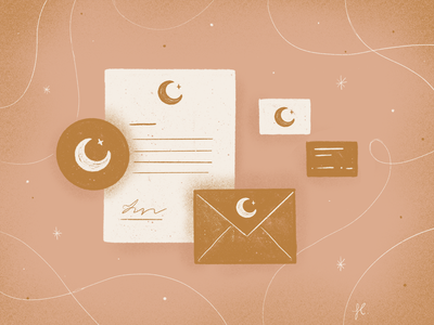 Illustration & Branding business card letterhead envelope blog article moon stationery branding illustration