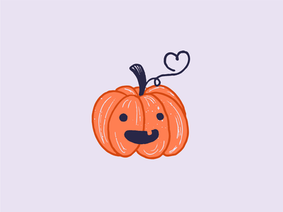 Pumpkin design character heart cute digital vector halloween pumpkin illustration