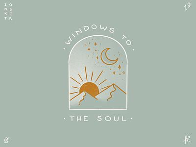 Windows to the soul outdoors mountains stars collection inktober logo mystical moon sun procreate window illustration