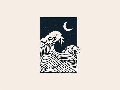 Night sea 🌊 print block line work t shirt logo monochrome moon frame sea illustration