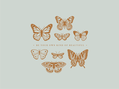 Your own kind of beautiful quote serif vintage monochrome line art t shirt monarcg butterfly botanical illustration