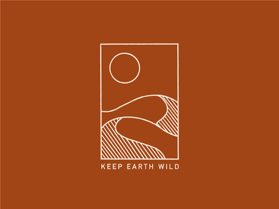Keep Earth Wild t shirt logo minimal geometrical monochrome line sun desert illustration
