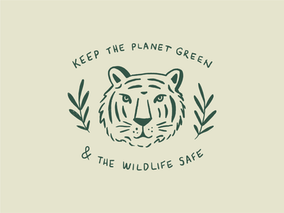 Tiger friend wild t shirt logo green earth plants sketch simple tiger illustration