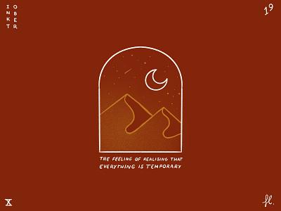 Temporary window minimal line art logo branding moon desert illustration