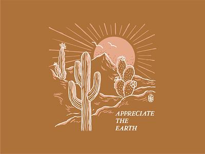 Appreciate the Earth sunset t shirt hippie mountains line art vintage summer sun desert illustration