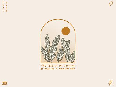 Growing & changing logo minimalist gold window portal desert sun plants line art procreate illustration