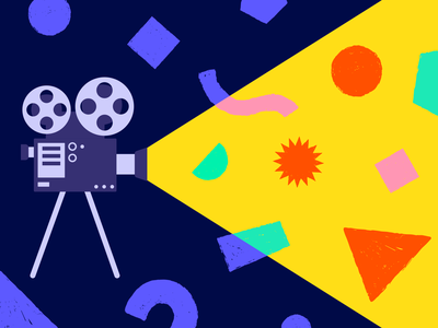 Video know-how for amateurs and pros vector projector reveal geometrical shapes animation filming cinema video illustration