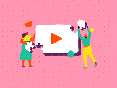 How marketers make videos geometric shapes texture vector working together team man woman character design puzzle video