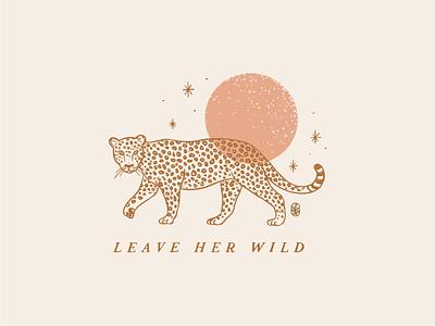 Leave her wild t shirt logo wilderness animal line botanical moon sun jaguar leopard illustration