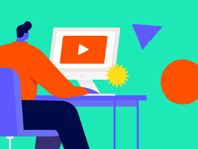 Training Videos video work desk ui webinar colorful shapes geometrical computer man illustration