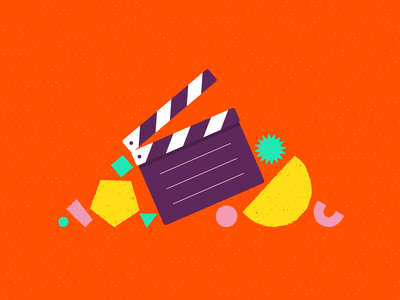 Video making perceptions video filming film clapperboard article blog vector geometrical shapes illustration