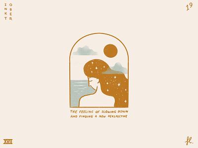 Slow down texture precreate line art portal clouds sun window sea woman illustration