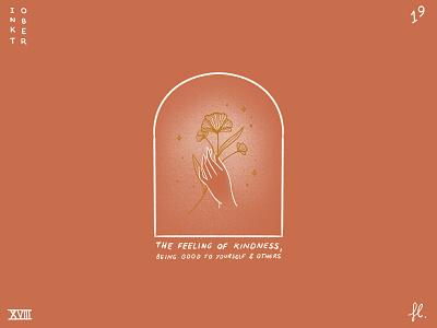 Kindness logo minimalist line art portal window illustration flowers hand