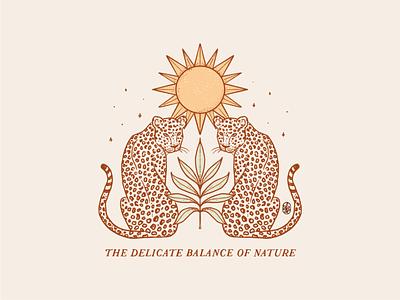 The delicate balance of nature reflected mystical botanical t shirt illustration plants sun jaguar