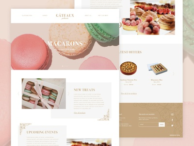 Gateaux Website homepage ux ui web macarons patisserie webdesign