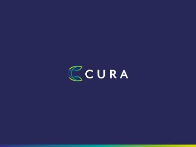 Cura Final Brand c minimalist line work column health gradient chiropractic logo