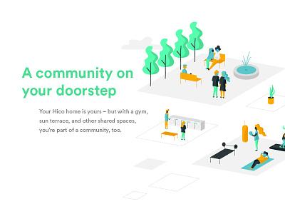 Hico Illustrations III diversity park vector community millennials gym people illustration