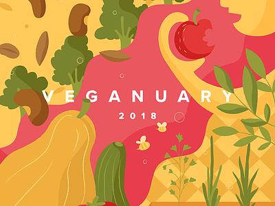 Veganuary veganuary healthy bees garden squash pulses seeds apple fruit illustration vegetables vegan