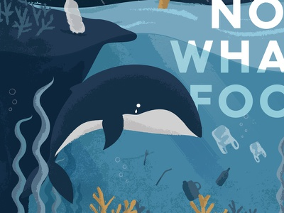 #NotWhaleFood bottle plastic bag seaweed website plastic ocean sea illustration whale