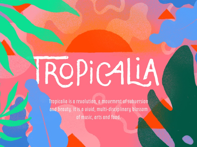 Tropicalia website sun pattern leaves tropical festival illustration