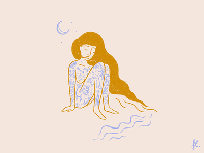 Female Body feminist hair line art vintage gold beach moon tattoo illustration woman girl