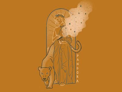 Pandora line art mythology greek gods art deco panther gold vintage girl illustration