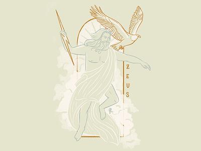 Zeus line art lightning eagle sky clouds god greek gods mythical art deco illustration