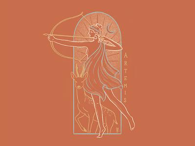Artemis line art greek gods mystical moon goddess woman deer arrow warrior illustration
