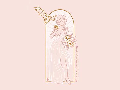 Persephone lillies skull bat line art mythology goddess greek gods art deco woman illustration