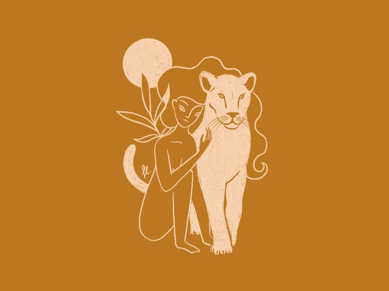 Leo Woman sun power gold monochrome spirit animal lion woman girl illustration