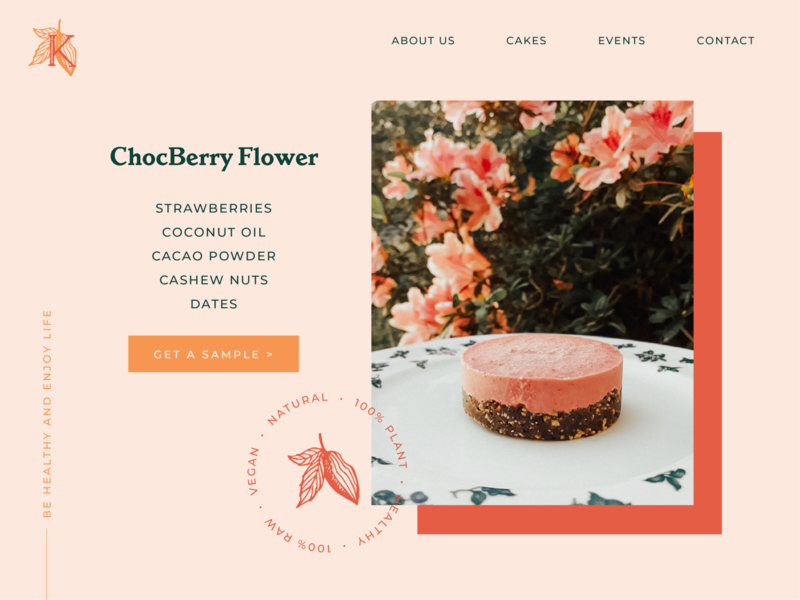 ChocBerry Raw Cake sweet website button branding cacao chocolate desktop ecommerce cake webdesign ui